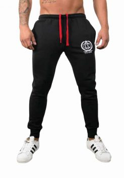 Mens Bodybuilding Pants - Quadfit Trackie in Black By FKN