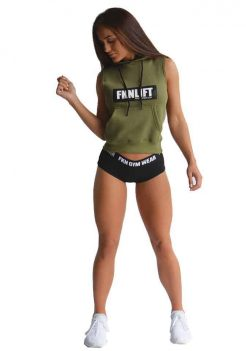 womens fknlift sleeveless hoodie khaki colour