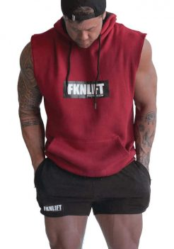 Mens FKN Sleeveless Gym Hoodie Maroon