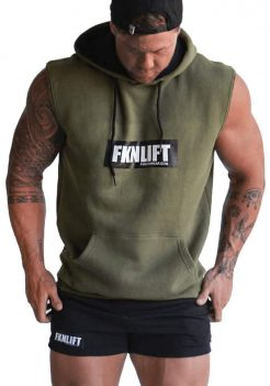 Men's Khaki FKN Sleeveless Gym Hoodie FKN Gym Wear