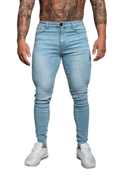 Adonis Muscle Fit Jeans Light Blue Non Ripped