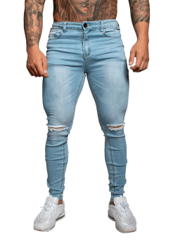 Muscle Fit Jeans Light Blue Ripped