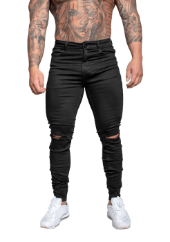 Muscle Fit Jeans Black Ripped Knee